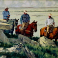 Compadres oil painting