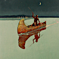 Spearfisher oil painting